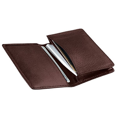 Royce Leather - Étui de luxe pour cartes professionnelles, chocolat, estampage, nom complet