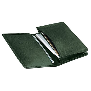 Royce Leather Deluxe Business Card Case, Green, Gold Foil Stamping, 3 Initials
