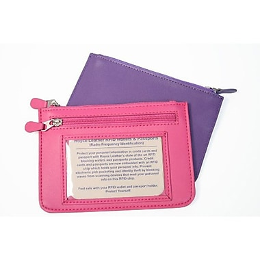 Royce Leather – Portefeuille City mince pour femme anti-RFID, violet estampage doré, nom complet