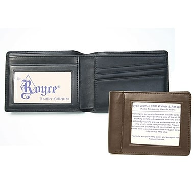 Royce Leather RFID Blocking Double ID Flat Fold Wallet, Black, Silver Foil Stamping, 3 Initials