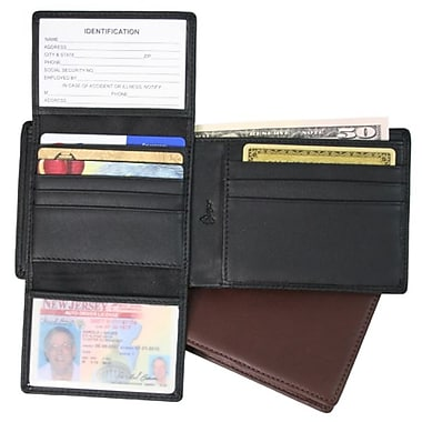 Royce Leather – Portefeuille Euro Commuter avec blocage RFID, chocolat, estampage or, 3 initiales