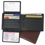 Royce Leather – Portefeuille Euro anti-RFID avec pochette pour carte de transports en commun, bleu Royce