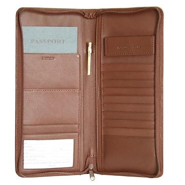 Royce Leather – Étui expansible pour documents de voyage, havane, estampage argenté, nom complet