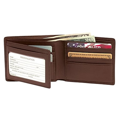 Royce Leather Men's Bi-Fold Wallet with Double ID Flap, Coco, Silver Foil Stamping, 3 Initials