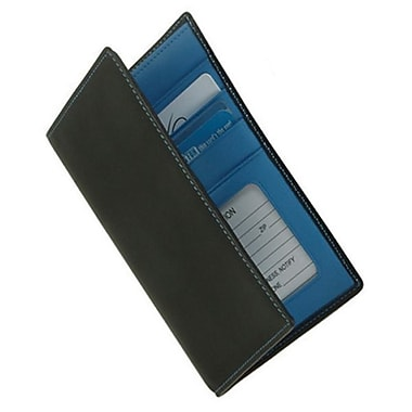 Royce Leather – Portefeuille pour passeport et billets de banque, collection Metro, bleu Royce, estampage, 3 initiales