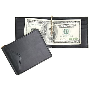Royce Leather Men's Cash Clip Wallet with Outside Pocket, Black, Silver Foil Stamping, Full Name