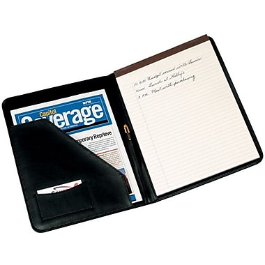 Royce Leather Junior Writing Padfolio, Black (744-BLACK-5), Gold Foil Stamping, 3 Initials