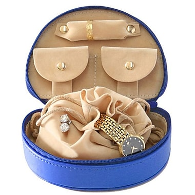 Royce Leather Mini Jewellery Case, Royal Blue, Silver Foil Stamping, Full Name