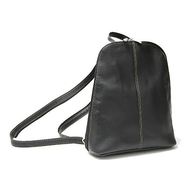 Royce Leather Vaquetta Zip Around Sling Backpack, Black, Silver Foil Stamping, 3 Initials