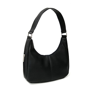 Royce Leather - Sac besace Vaquetta, noir, estampage or, 3 initiales