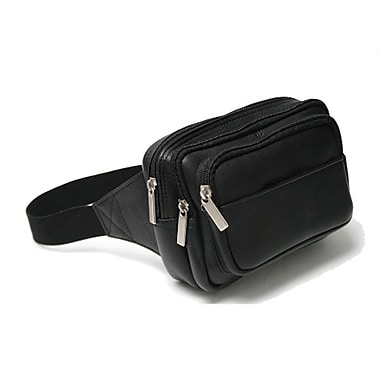 Royce Leather Vaquetta Multi Compartment Fanny Pack, Black, Silver Foil Stamping, 3 Initials