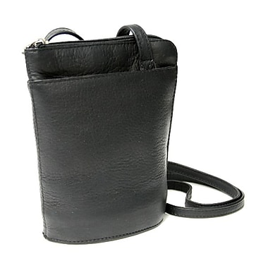 Royce Leather – Mini sac à bandoulière en cuir Vaquetta L-Zip, noir, estampage or, 3 initiales