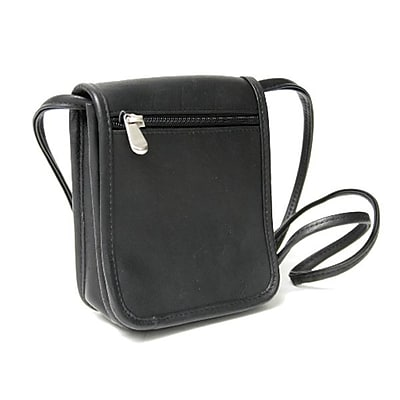Royce Leather Vaquetta Petite Flapover Crossbody Bag Black