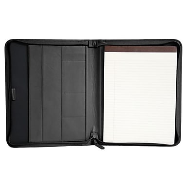 Royce Leather Zip Around Writing Padfolio, Black, Gold Foil Stamping, 3 Initials