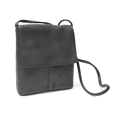 Royce Leather Vaquetta Small Flap Over Crossbody Bag, Black, Silver Foil Stamping, Full Name