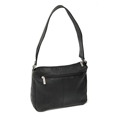 Royce Leather - Sac Vaquetta, noir, estampage or, 3 initiales