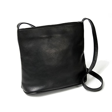 Royce Leather Shoulder Bag, Black, Silver Foil Stamping, 3 Initials