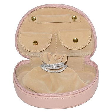 Royce Leather Mini Jewellery Case, Carnation Pink, Silver Foil Stamping, Full Name