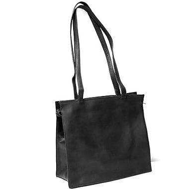 Royce Leather Vaquetta All-Purpose Tote Bag, Black, Gold Foil Stamping, 3 Initials