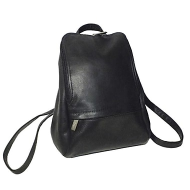 Royce Leather – Sac à dos ajustable pour portable de 10 po, noir, estampage or, nom complet