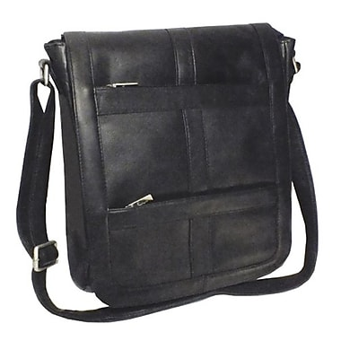 Royce Leather – Sac de messager pour portable de 16 po vertical, noir, estampage or, 3 initiales