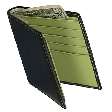 Royce Leather Men's Bi-Fold Wallet with Double ID Flap, Key Lime Green, Silver Foil Stamping, 3 Initials