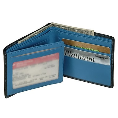 Royce Leather Men's Bi-Fold Wallet with Double ID Flap, Royce Blue, Silver Foil Stamping, 3 Initials