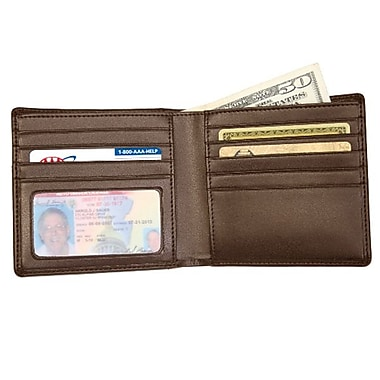 Royce Leather Double ID Hipster Wallet, Brown, Silver Foil Stamping, 3 Initials