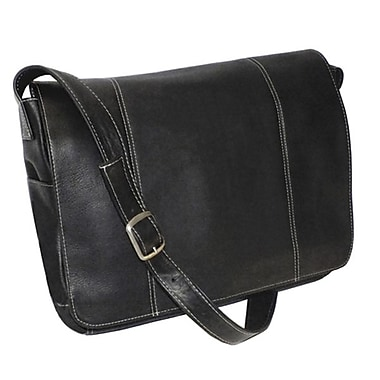 Royce Leather – Sac de messager pour portable de 13 po, noir, estampage or, 3 initiales