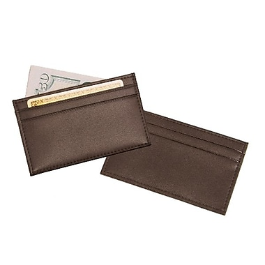 Royce Leather Cardholder, Brown, Silver Foil Stamping, 3 Initials