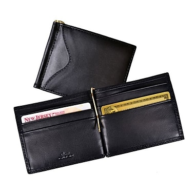 Royce Leather RFID Blocking Money Clip Wallet, Black, Silver Foil Stamping, Full Name