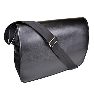 Royce Leather Kensington Messenger Bag, Black, Silver Foil Stamping, 3 Initials
