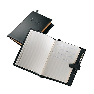Royce Leather Handcrafted Leather Journal, Black, Silver Foil Stamping, Full Name