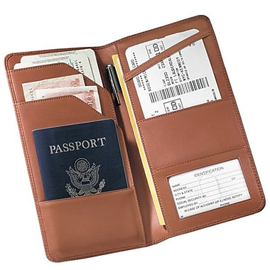 Royce Leather Checkpoint Passport Wallet, Tan, Silver Foil Stamping, 3 Initials