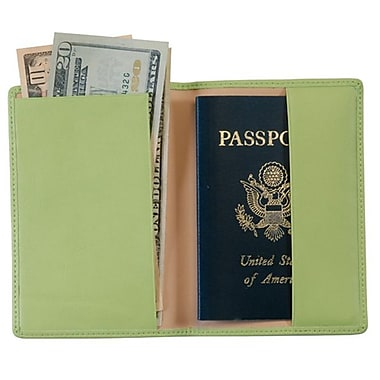 Royce Leather Foil Stamped Passport Jacket, Key Lime Green, Gold Foil Stamping, Full Name