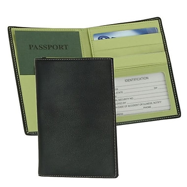 Royce Leather – Porte-passeport/devises, collection Metro, vert lime, estampage doré, nom complet