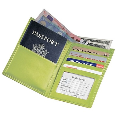 Royce Leather Passport Currency Wallet, Key Lime Green, Debossing, 3 Initials