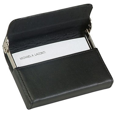 Royce Leather Horizontal Framed Card Case, Black, Silver Foil Stamping, Full Name