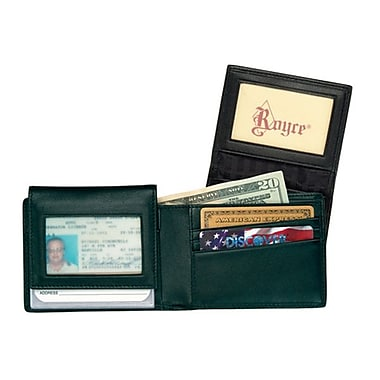 Royce Leather Men's Removable ID Wallet, Black, Silver Foil Stamping, 3 Initials