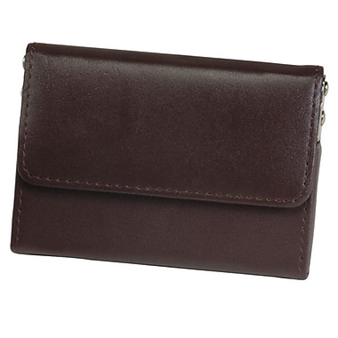 Royce Leather Horizontal Framed Card Case, Brown, Silver Foil Stamping, Full Name
