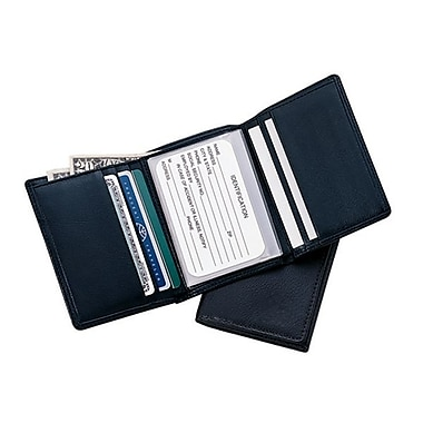 Royce Leather Men's Tri-Fold Wallet, Black, Silver Foil Stamping, Full Name