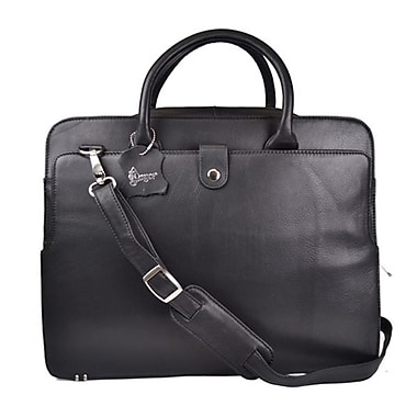 Royce Leather 'Seraphina' Executive Briefcase, Black, Silver Foil Stamping, 3 Initials