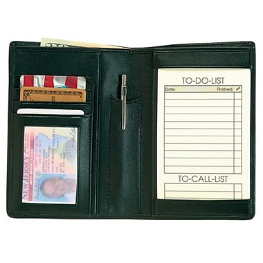 Royce Leather – Portefeuille pour passeport et bloc-notes « to do list », noir, estampage, 3 initiales