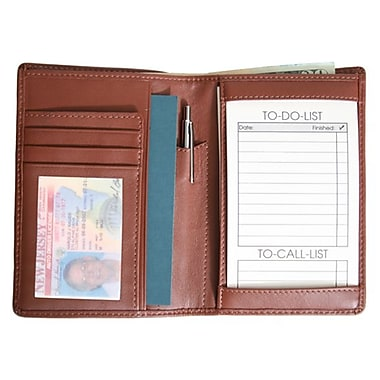 Royce Leather – Portefeuille pour passeport et bloc-notes « to do list », havane, estampage argenté, nom complet