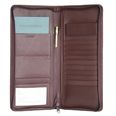 Royce Leather Expanded Travel Document Case, Burgundy, Silver Foil Stamping, 3 Initials