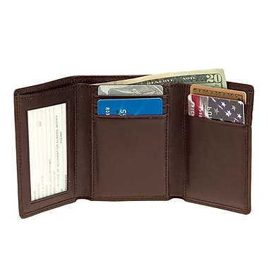 Royce Leather Men's Tri-Fold Wallet with Double ID Window, Coco, Gold Foil Stamping, Full Name