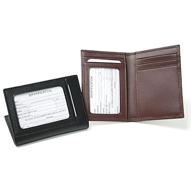 Royce Leather Business Card Case with Multiple ID Windows, Black, Silver Foil Stamping, Full Name