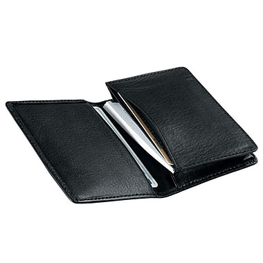 Royce Leather Deluxe Business Card Case, Black, Silver Foil Stamping, 3 Initials