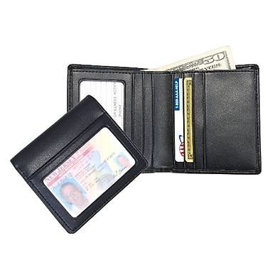 Royce Leather Men's Double ID Bi-Fold Wallet, Black, Silver Foil Stamping, 3 Initials