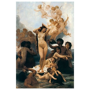 Birth of Venus de Bouguereau, toile, 24 x 36 po